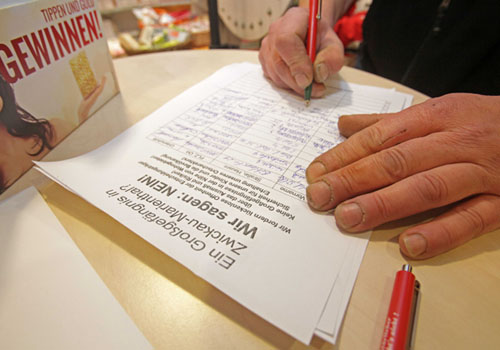 Unterschriftensammlung in Marienthal
